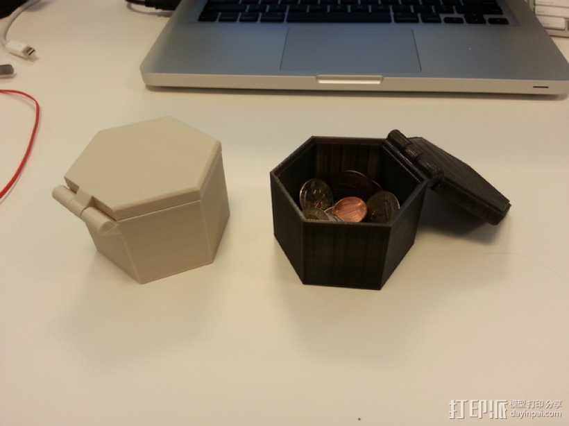 带盖的六边形盒子模型 3D打印模型渲染图