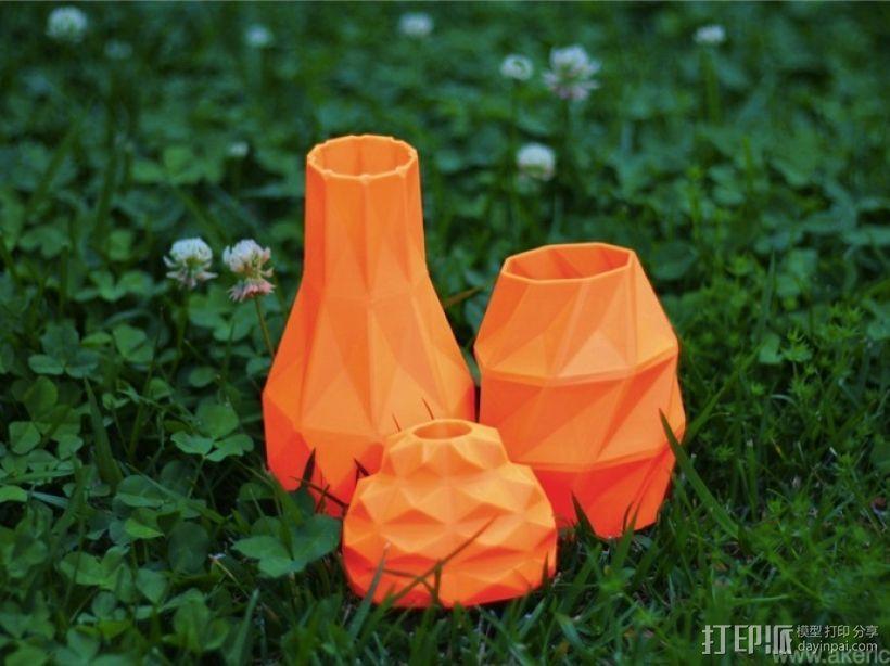 几何形橙色花瓶模型 3D打印模型渲染图