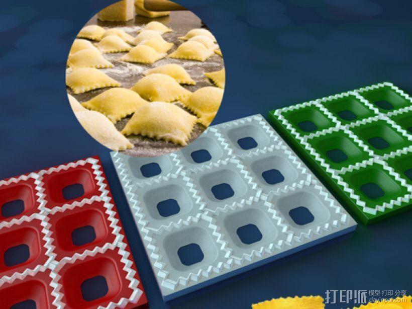 方形饺子制作模具 3D打印模型渲染图