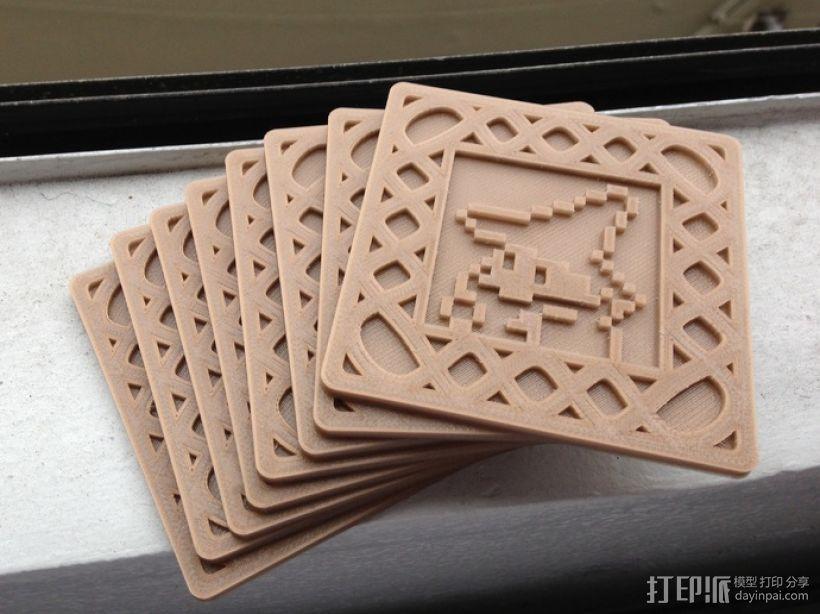 正方形游戏杯垫 3D打印模型渲染图