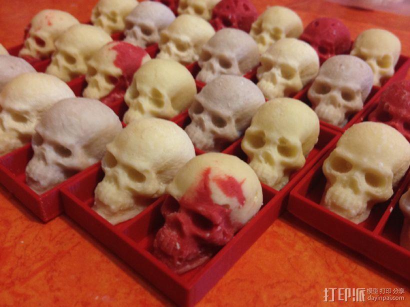 骷髅头形白巧克力模具 3D打印模型渲染图