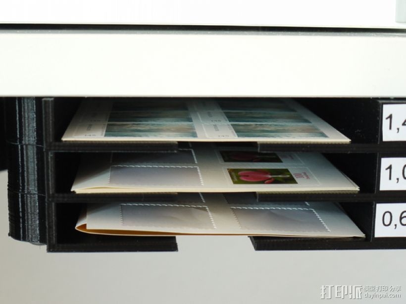 堆叠式柜底信件盒 3D打印模型渲染图