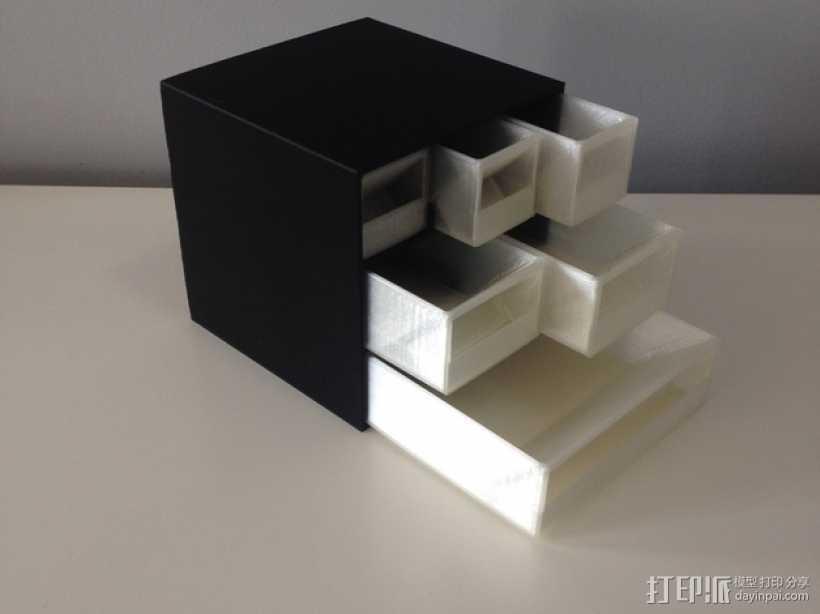 多层多格迷你储物抽屉 3D打印模型渲染图