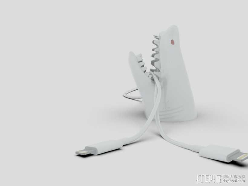鲨鱼形桌面电线支架 3D打印模型渲染图