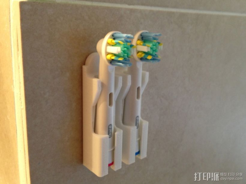 壁挂式牙刷固定架 3D打印模型渲染图