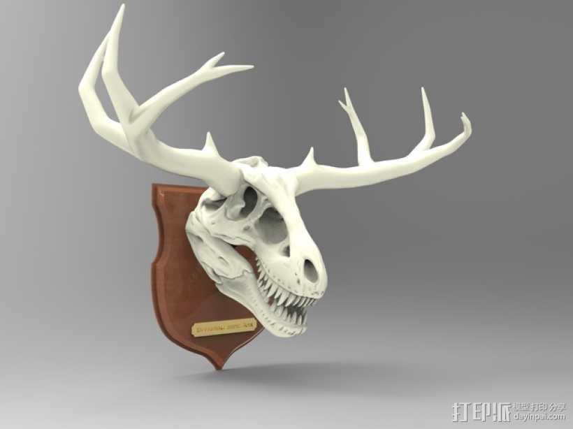 墙面装饰品:鹿角+恐龙 3D打印模型渲染图