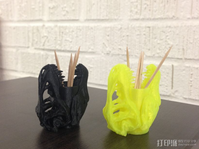 霸王龙笔筒/牙签筒 3D打印模型渲染图
