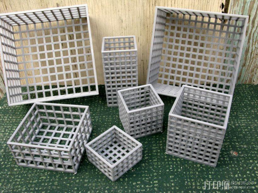 方形镂空容器 3D打印模型渲染图