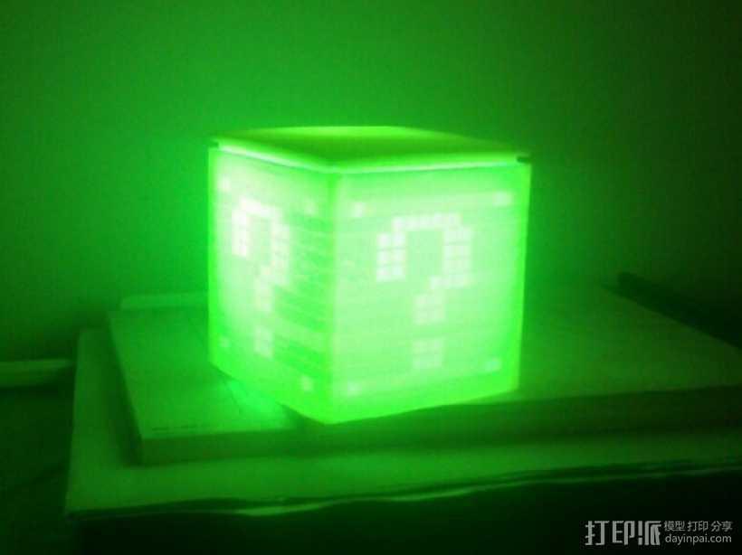 迷你立方体LED灯罩 3D打印模型渲染图