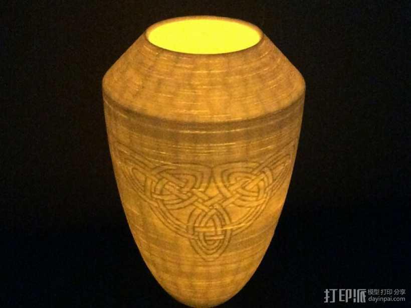 浮雕凯尔特花瓶/灯罩 3D打印模型渲染图