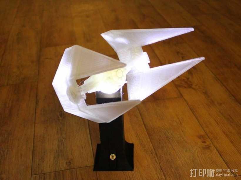 TIE战斗机形灯罩 3D打印模型渲染图