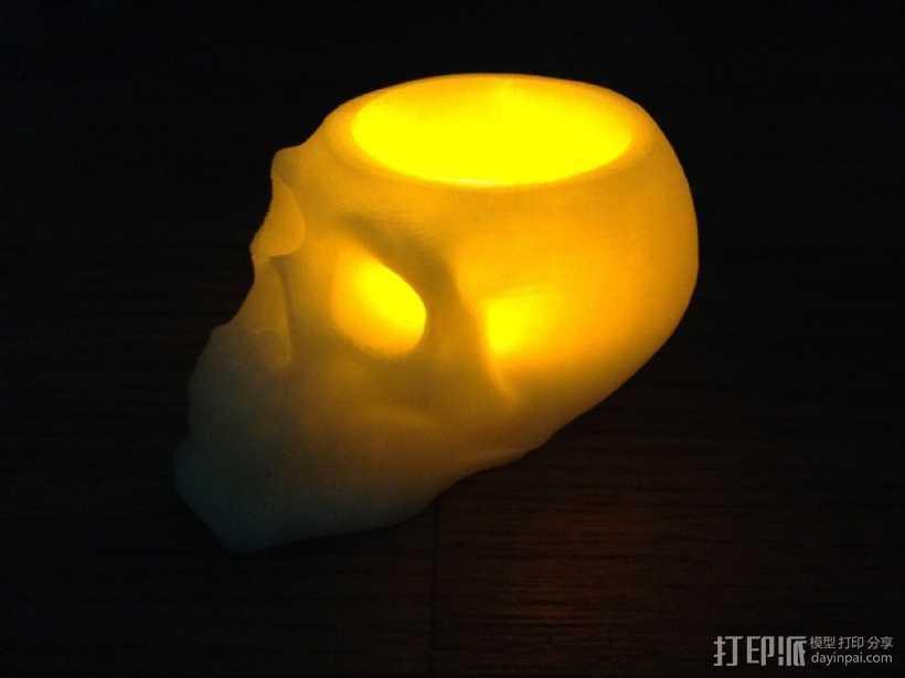 骷髅头形茶蜡支架 3D打印模型渲染图