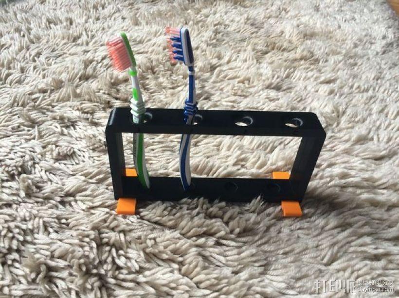 4孔牙刷架 3D打印模型渲染图