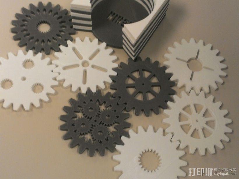 齿轮形杯垫 3D打印模型渲染图