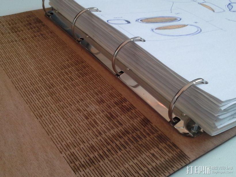 木质A3活页簿 3D打印模型渲染图