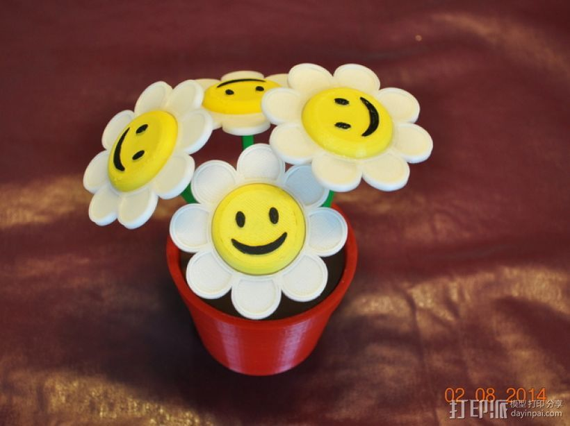 笑颜花和花盆 3D打印模型渲染图
