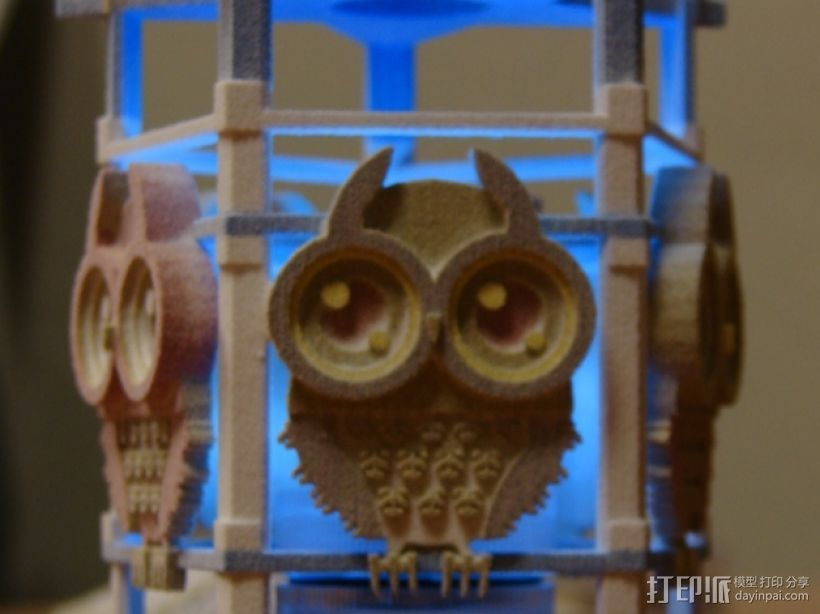 猫头鹰形小夜灯 3D打印模型渲染图