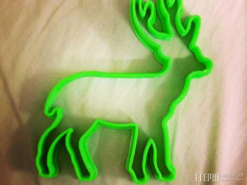 圣诞驯鹿饼干模具切割刀 3D打印模型渲染图
