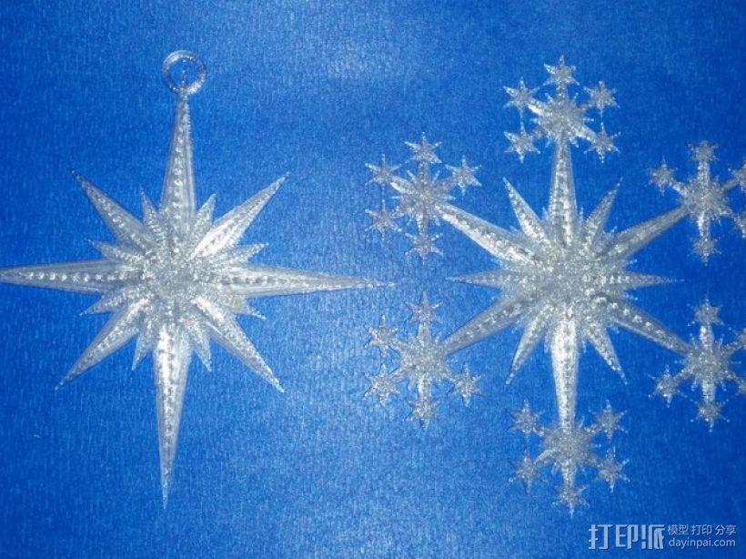 星形/雪花形装饰品 3D打印模型渲染图