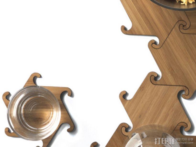 联锁杯垫 3D打印模型渲染图