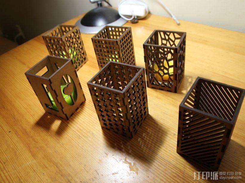 激光切割方形烛台 3D打印模型渲染图