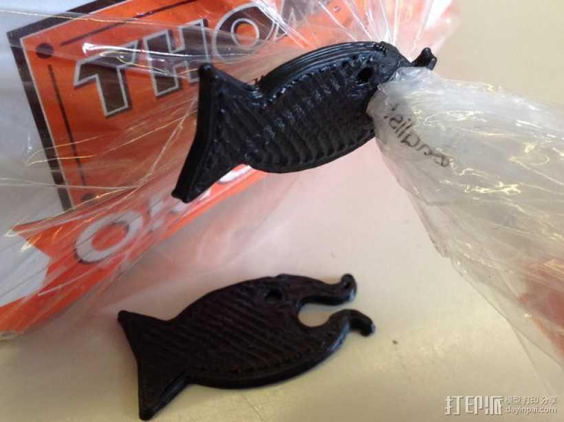 鱼形包装袋夹 3D打印模型渲染图