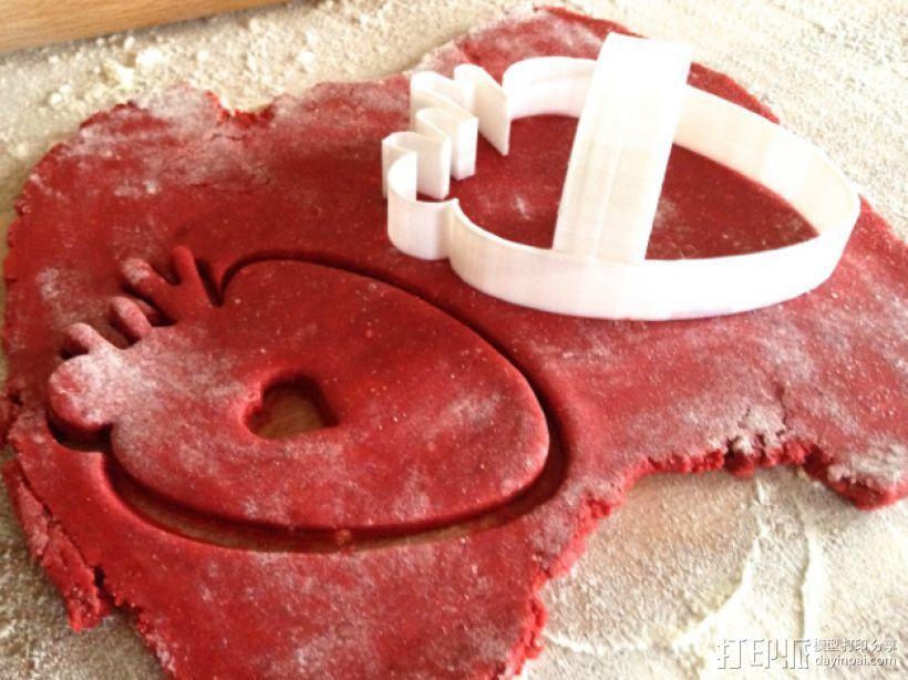 草莓心形饼干模具切割刀 3D打印模型渲染图