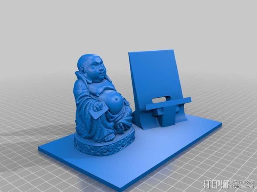 弥勒佛手机架 3D打印模型渲染图