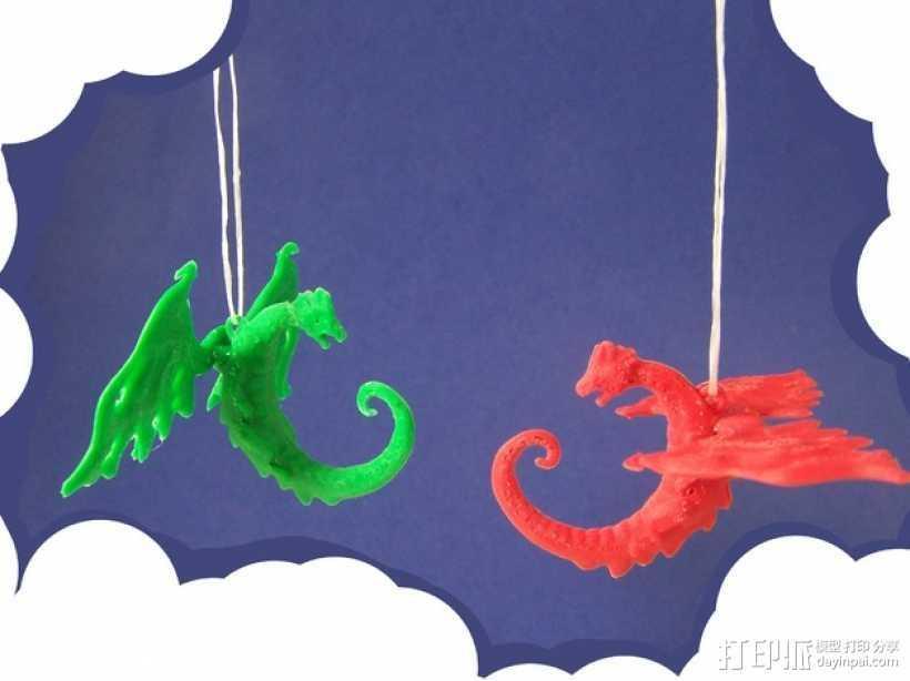 龙形吊坠/装饰物 3D打印模型渲染图