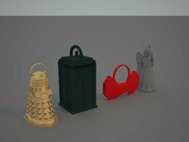 神秘博士主题圣诞装饰品 3D打印模型渲染图