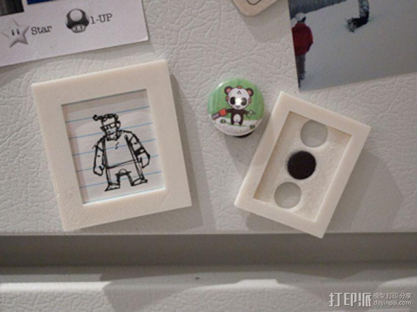 定制化相框形冰箱磁铁 3D打印模型渲染图