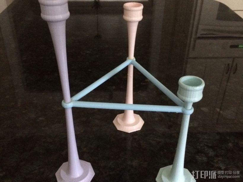 三枝状大烛台 3D打印模型渲染图