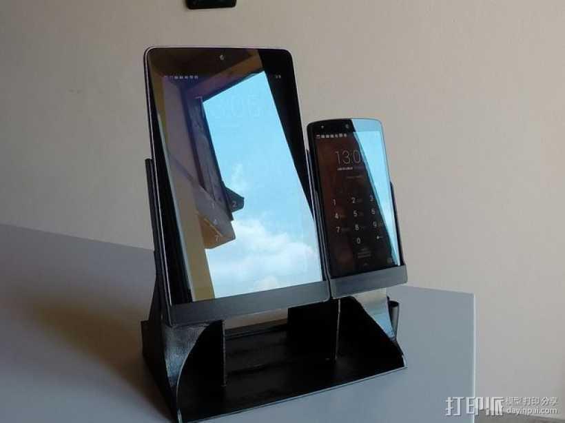 Nexus 7平板电脑/Nexus 5手机架 3D打印模型渲染图