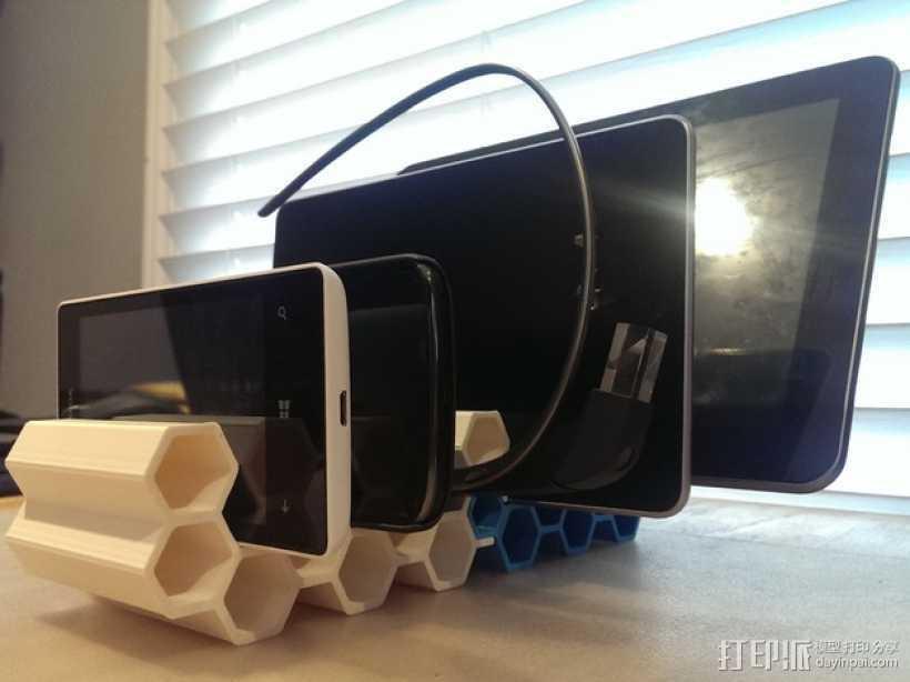 模块化蜂巢形移动设备架 3D打印模型渲染图