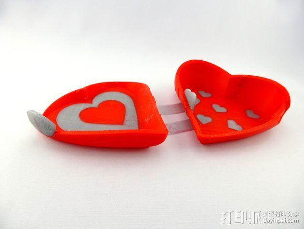 双色心形礼物盒 3D打印模型渲染图
