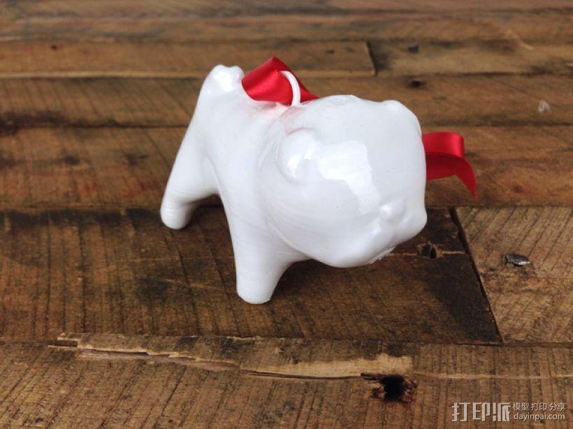 哈巴狗装饰品 3D打印模型渲染图