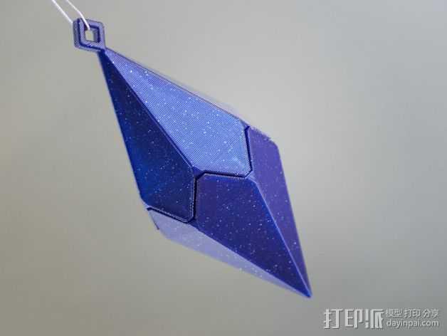 偏六面体吊坠装饰品 3D打印模型渲染图