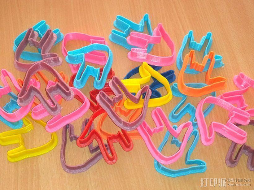 手势形饼干模具切割刀 3D打印模型渲染图