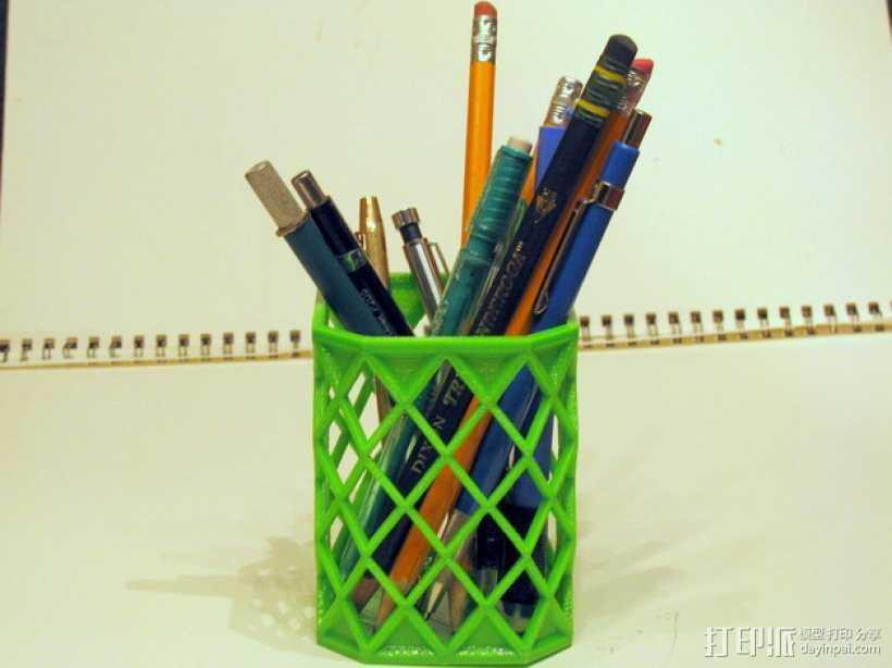菱形镂空笔筒 3D打印模型渲染图