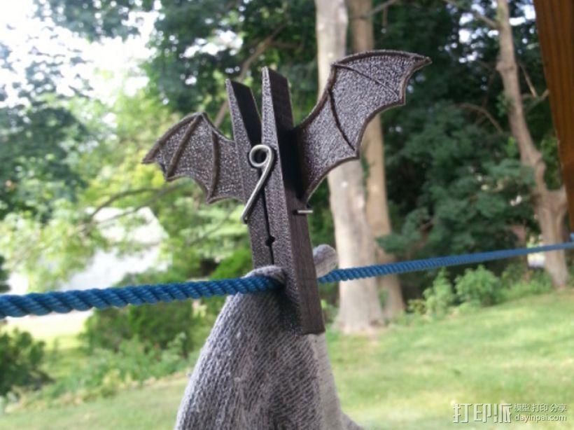 蝙蝠形晒衣夹 3D打印模型渲染图
