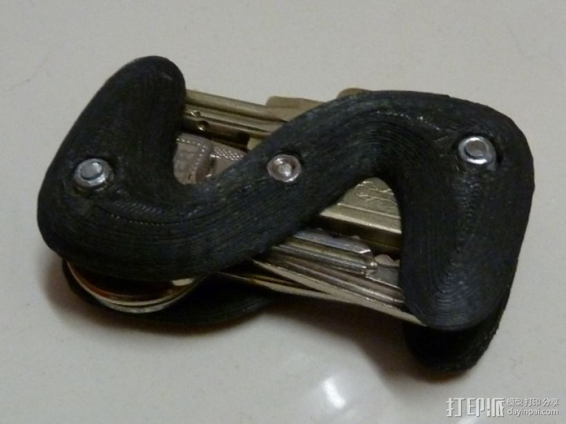 S形钥匙圈 3D打印模型渲染图