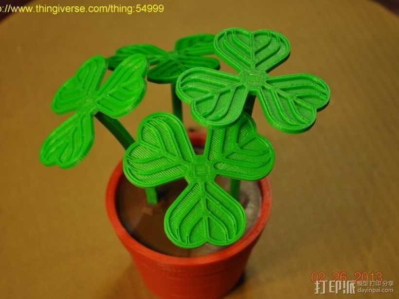 迷你三叶草盆栽 3D打印模型渲染图