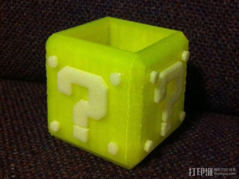 马里奥问号形小酒杯 3D打印模型渲染图