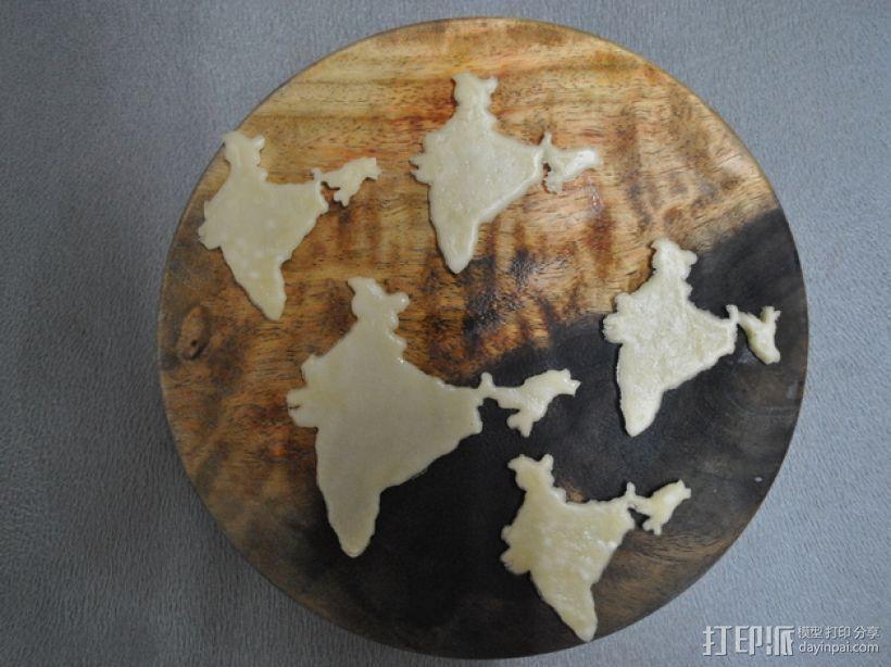 印度地图形饼干模具切割刀 3D打印模型渲染图