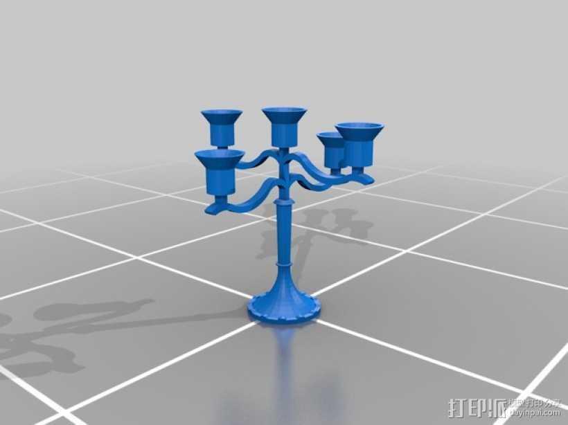 迷你烛台 3D打印模型渲染图