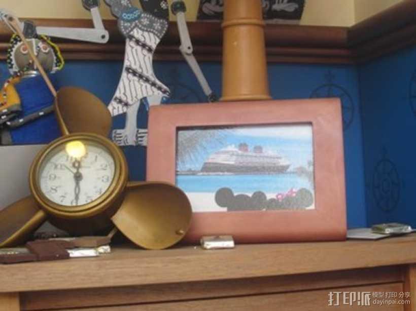 迪士尼螺旋桨形钟表框架 3D打印模型渲染图