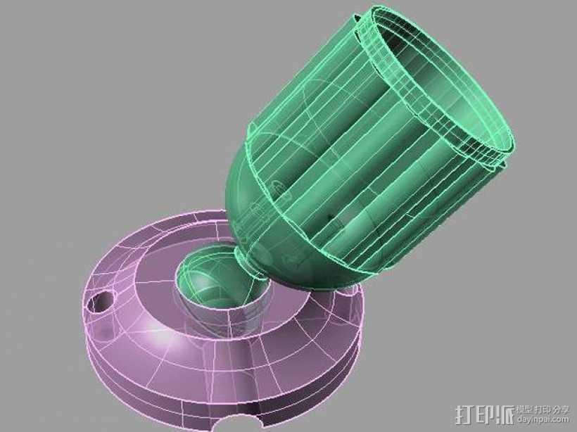 可移动LED灯底座 3D打印模型渲染图