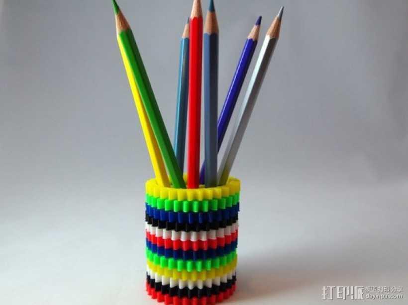 齿轮笔筒 3D打印模型渲染图