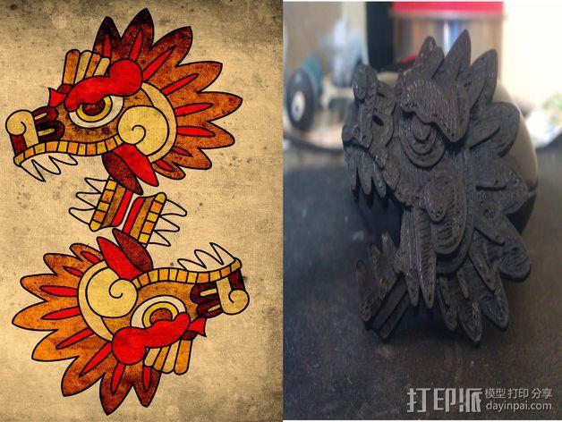羽蛇神装饰品 3D打印模型渲染图