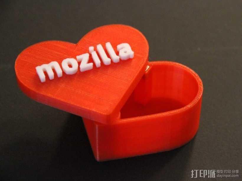 MozLove心形礼物盒 3D打印模型渲染图